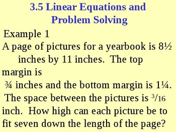 Linear Equations and Problem Solving