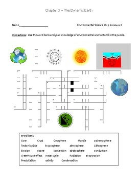 Ch.3 Holt Environmental Puzzle and Vocab Activity - The Dynamic Earth