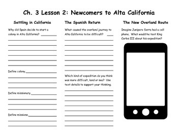 Ch. 3 Lesson 2 Newcomers to Alta California