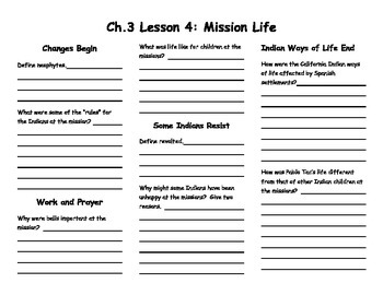 Ch. 3 Lesson 4 Mission Life Notes