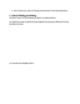 Ch. 3 - Social Studies Test - American Colonies
