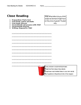 Ch 4.1 - Close Reading of a Case Study - Common Core Worksheet