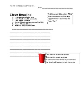 Ch 4.1 World History Close Reading of a Primary Source - Common Core Worksheet