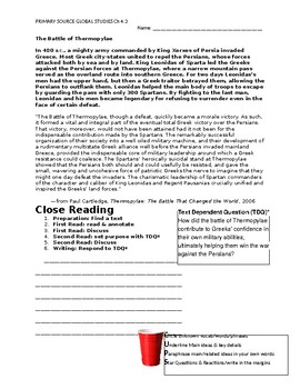 Ch 4.3 World History Close Reading of a Primary Source - Common Core Worksheet