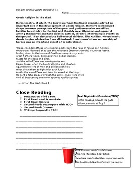Ch 4.4 World History Close Reading of a Primary Source - Common Core Worksheet
