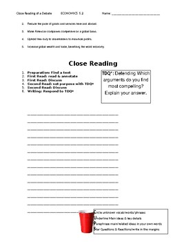Ch 5.2 - Close Reading of a Debate - Common Core Worksheet
