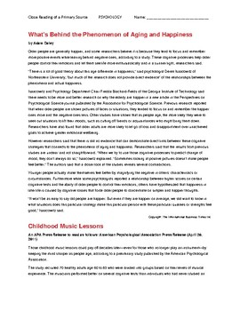 Ch 5.2 Psychology - Close Reading of a Primary Source - Common Core Worksheet