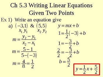 Writing Linear Equations Given Two Points