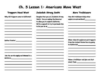 Ch. 5 Lesson 1 Americans Move West