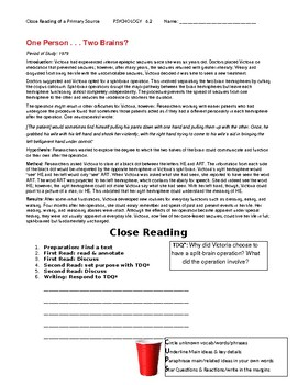 Ch 6.2 Psychology - Close Reading of a Primary Source - Common Core Worksheet