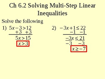 Solving Multi-Step Linear Inequalities