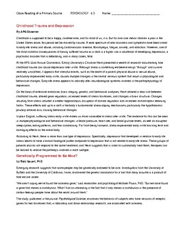 Ch 6.3 Psychology - Close Reading of a Primary Source - Common Core Worksheet