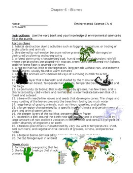 Ch. 6 Holt Environmental Science Crossword Puzzle - Biomes