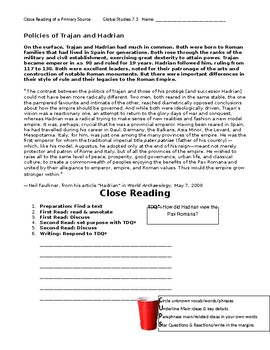 Ch 7.3 World History Close Reading of a Primary Source - Common Core Worksheet