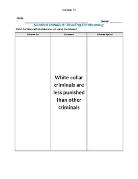 Ch 7.4 Sociology - Reading for Meaning  - Common Core Worksheet