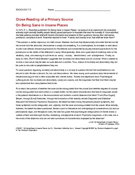 Ch 7.5 Sociology - Close Reading of a Primary Source - Common Core Worksheet