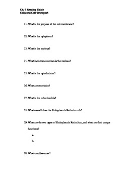Ch. 7 Cells Guided Reading Questions (Biology Outline)