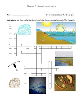 Ch 7 Holt Environmental Science Crossword - Aquatic Ecosystems