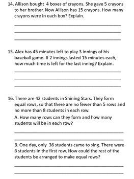 Ch. 7 Review for Test - Go Math - Third Grade