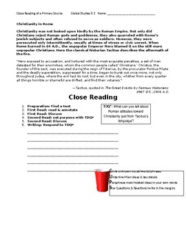 Ch 8.1 World History Close Reading of a Primary Source - Common Core Worksheet