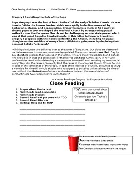 Ch 8.3 World History Close Reading of a Primary Source - Common Core Worksheet