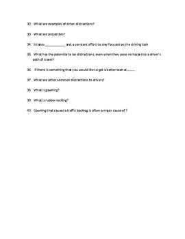 """Driver's Education Ch. 8 """"Managing Distractions"""" Study Guide"""