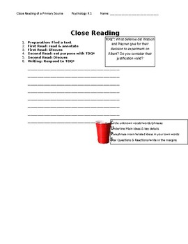 Ch 9.1 Psychology - Close Reading of a Primary Source - Common Core Worksheet
