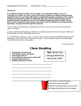 Ch 9.1 World History Close Reading of a Primary Source - Common Core Worksheet