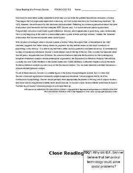 Ch 9.2 Psychology - Close Reading of a Primary Source - Common Core Worksheet