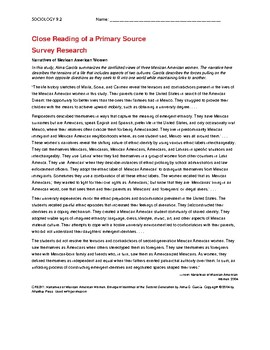 Ch 9.2 Sociology - Close Reading of a Primary Source - Common Core Worksheet