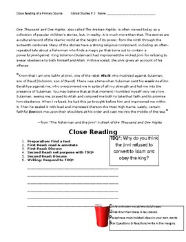 Ch 9.3 World History Close Reading of a Primary Source - Common Core Worksheet