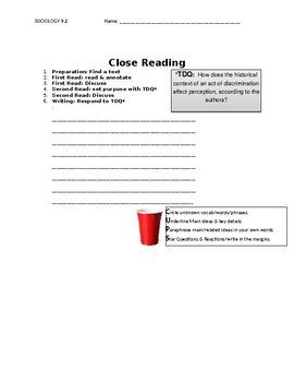 Ch 9.4 Sociology - Close Reading of a Primary Source - Common Core Worksheet