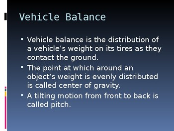 Driver's Education Ch. 9 Power Point Natural Laws and Car Control