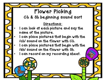Ch & Sh Beginning Sound Spring Sort