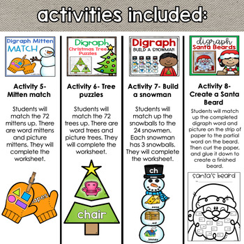 Ch Sh Th Wh Digraph Christmas December Activity Bundle