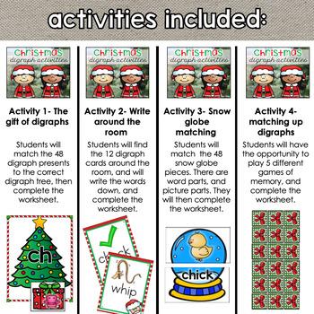 Ch Sh Th Wh Digraph Christmas December Activity Bundle