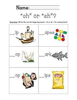 """Ch"" and ""Sh"" Consonant Digraphs Station"
