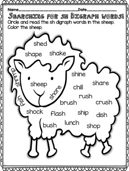 Ch and Sh Digraph Word Work!