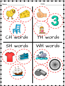 Ch and Wh worksheets
