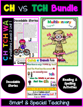 Ch vs TCH Reading and Spelling Bundle Orton Gillingham Dyslexia/RTI