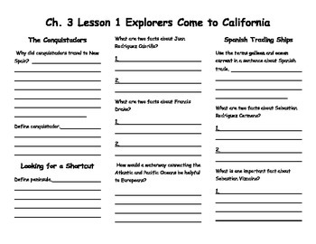Ch.3 Lesson 1 Explorers Come to California Notes