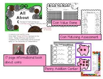 All About Coins for Kindergarten--Centers, Games, and an Informational Book!