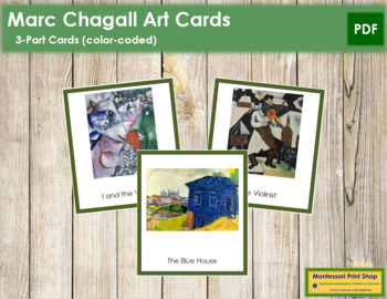Chagall (Marc) 3-Part Art Cards - Color Borders