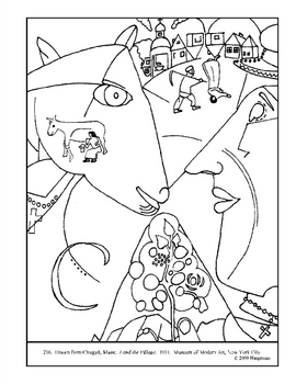 Chagall, Marc. I and the Village.  Coloring page and lesson plan ideas
