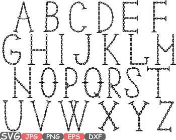 Chain Alphabet SVG clipart Letters ABC Handyman Science metal steel symbol -653s