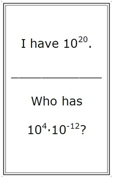 """Chain Game - Properties of Exponents (""""I have, who has?"""" activity)"""