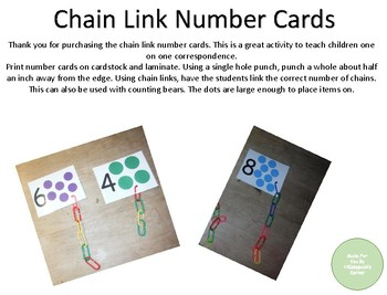 Chain Link Number Cards
