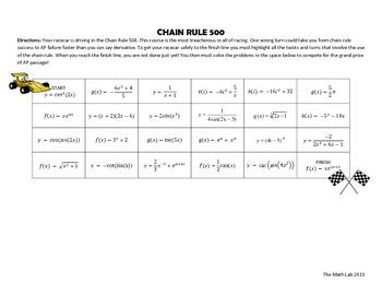 Chain Rule 500 Maze Activity