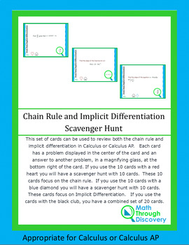 Chain Rule-Implicit Differentiation Scavenger Hunt