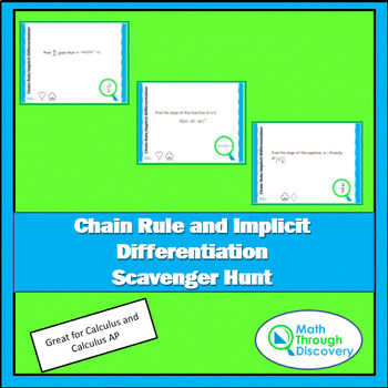 Calculus:  Chain Rule-Implicit Differentiation Scavenger Hunt